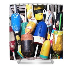 Shower Curtain featuring the photograph Maine Lobster Buoys by Denyse Duhaime