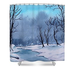 Maine Snowy Woods Shower Curtain