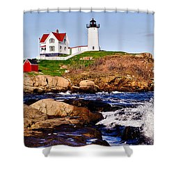Maine's Nubble Light Shower Curtain by Mitchell R Grosky