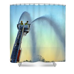 Mainstream At Sunset Shower Curtain by Leeon Pezok