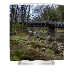 Majestic Bridge In The Woods Shower Curtain