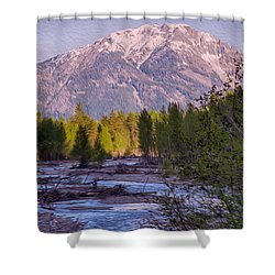 Majestic Mountain Morning Shower Curtain by Omaste Witkowski