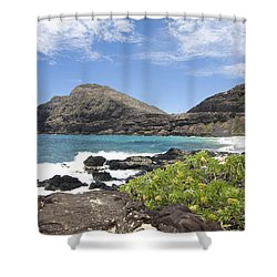 Makapuu Beach Shower Curtain by Brandon Tabiolo
