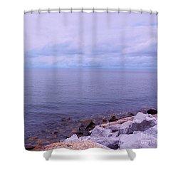 Make Mine On The Rocks Shower Curtain by Eloise Schneider