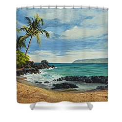 Shower Curtain featuring the painting Makena Beach by Darice Machel McGuire