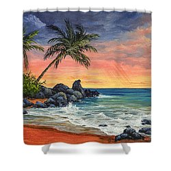 Makena Beach Sunset Shower Curtain