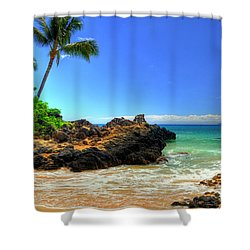 Makena Secret Cove Paako Beach Shower Curtain by Kelly Wade