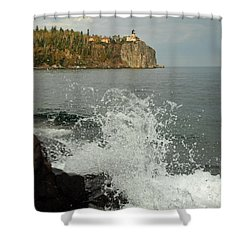 Shower Curtain featuring the photograph Making A Splash At Split Rock Lighthouse  by James Peterson