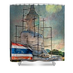 Making Buddha Shower Curtain by Adrian Evans