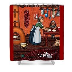 Making Tortillas Shower Curtain by Victoria De Almeida