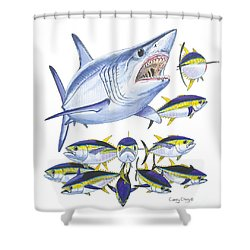 Mako Attack Shower Curtain by Carey Chen