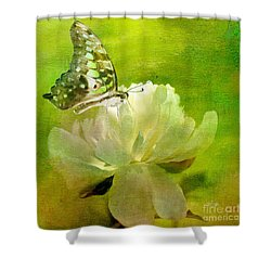 Malachite On Peony Shower Curtain by Lois Bryan