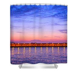 Malaga Pink And Blue Sunrise  Shower Curtain by Debra Martz