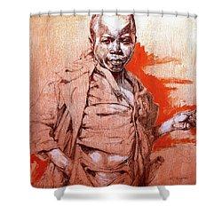 Malawi Child Sketch Shower Curtain by Derrick Higgins