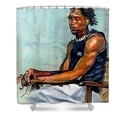 Male Figure Sitting Shower Curtain by Stan Esson