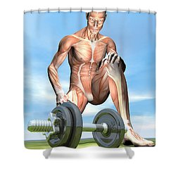 Male Musculature Looking At A Dumbbell Shower Curtain by Elena Duvernay
