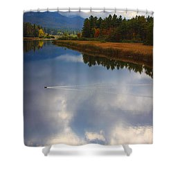 Shower Curtain featuring the photograph Mallard Duck On Lake In Adirondack Mountains In Autumn by Jerry Cowart