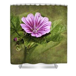 Mallow Hollyhock Shower Curtain