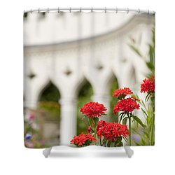 Maltese Cross Flowers Shower Curtain by Anne Gilbert
