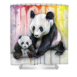 Panda Watercolor Mom And Baby Shower Curtain by Olga Shvartsur