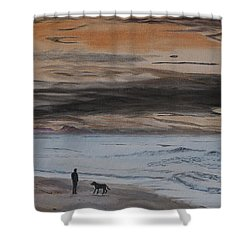 Man And Dog On The Beach Shower Curtain