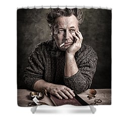 Man At The Table - Lonely Hearts Club Shower Curtain by Gary Heller
