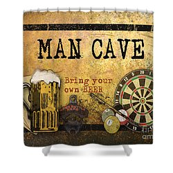 Man Cave-bring Your Own Beer Shower Curtain by Jean Plout