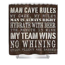 Man Cave Rules 1 Shower Curtain by Debbie DeWitt