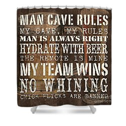 Man Cave Rules Square Shower Curtain by Debbie DeWitt