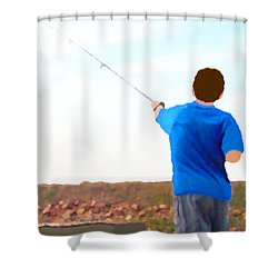 Man Fishing Shower Curtain by Marian Cates