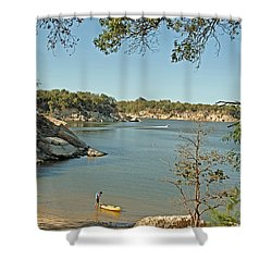 Man Going Kayaking Shower Curtain