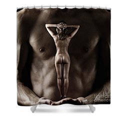 Man Holding A Naked Fitness Woman In His Hands Shower Curtain
