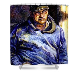 Man In Barn Shower Curtain by Stan Esson