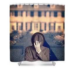 Man In Front Of Mansion  Shower Curtain by Edward Fielding