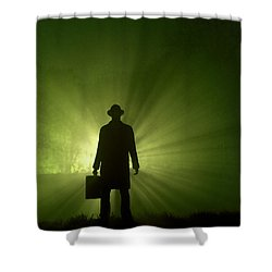 Shower Curtain featuring the photograph Man In Light Beams by Lee Avison