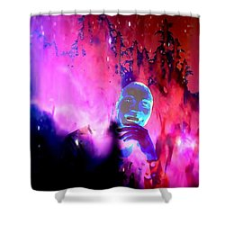 Man In Space Pondering Thoughts Shower Curtain