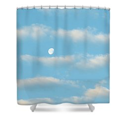 Shower Curtain featuring the photograph Man In The Moon In The Clouds by Fortunate Findings Shirley Dickerson