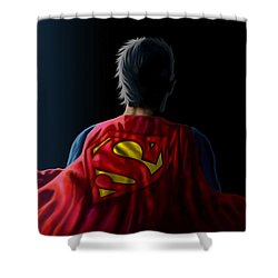 Shower Curtain featuring the digital art Man Of Steel - Superman by Anthony Mwangi