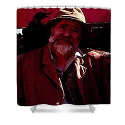 Shower Curtain featuring the digital art Man Of The Sea by Cathy Anderson