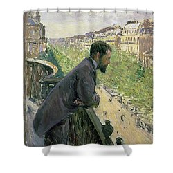Man On A Balcony Shower Curtain by Gustave Caillebotte