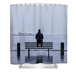 Man On Bench Shower Curtain by Joana Kruse