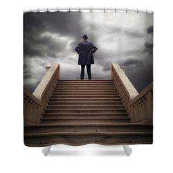 Man On Stairs Shower Curtain by Joana Kruse