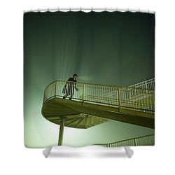Shower Curtain featuring the photograph Man On Stairs With Case In Fog by Lee Avison