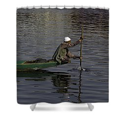 Man Plying A Wooden Boat On The Dal Lake Shower Curtain