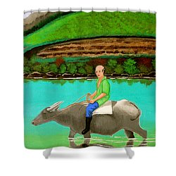 Man Riding A Carabao Shower Curtain