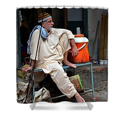 Man Sits And Relaxes In Lahore Walled City Pakistan Shower Curtain by Imran Ahmed