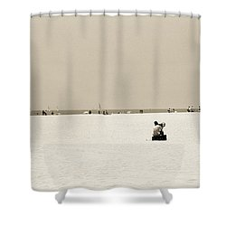 Man Sitting On A Beach Playing His Horn Shower Curtain by Stephen Spiller