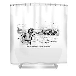 Man Standing On The Beach Screams As A Fleet Shower Curtain