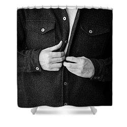 Man Unbuttoning His Shirt Shower Curtain by Edward Fielding