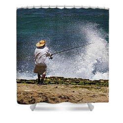 Man Versus The Sea Shower Curtain by Mike  Dawson